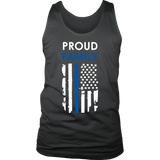 """Proud family"" - Thin Blue Line Flag Tank tops"