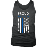 """Proud supporter"" - Thin Blue Line Flag Tank tops"