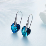 Thin Blue Line Heart Drop 18K White Gold Plated Earrings