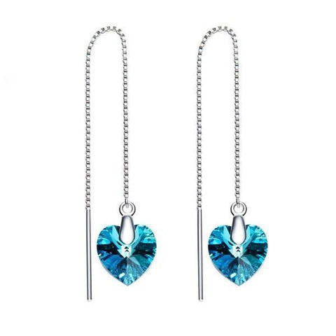 Thin Blue Line Heart Threader Drop 18K White Gold Plated Earrings