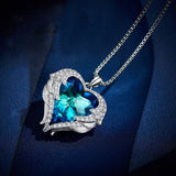 Wings of an Angel - Blue Heart - Necklace & Earring Set