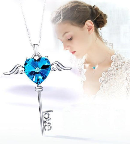 Thin Blue Line Heart Shaped Blue Swarovski Dangling Key Necklace