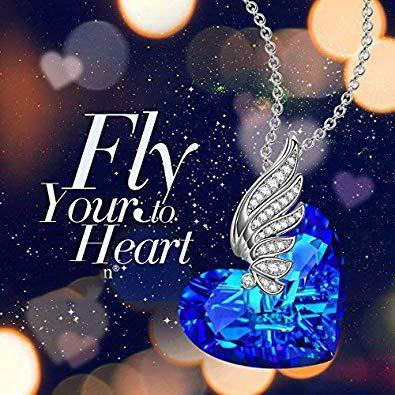 Thin Blue Line Heart - Angel Wings - Necklace