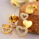 Connecting Hearts Stud Earrings in 18K Gold Plated