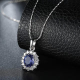 Stunning TBL Sapphire Necklace - 18K White Gold Plated