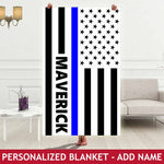 Personalized Blanket - Thin Blue Line Flag