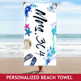 Personalized Beach Towel - Mrs - Floral