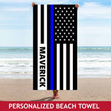 Personalized Beach Towel - Blue Line Flag