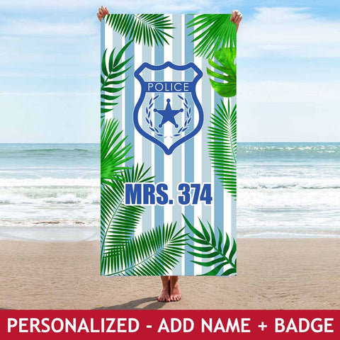Personalized Beach Towel - Mrs - Tropical