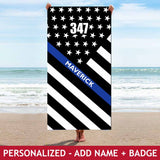 Personalized Beach Towel - Badge+Name