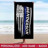 Personalized Beach Towel - Waving Flag