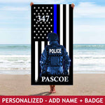 Personalized Beach Towel - Police Hero