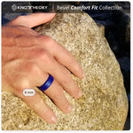 Thin Blue Line Ring - Indigo Bevel Comfort Fit Silicone Ring