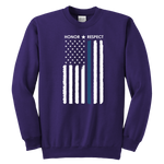 Youth Thin Blue Line Flag Honor Respect Sweatshirt - Kids