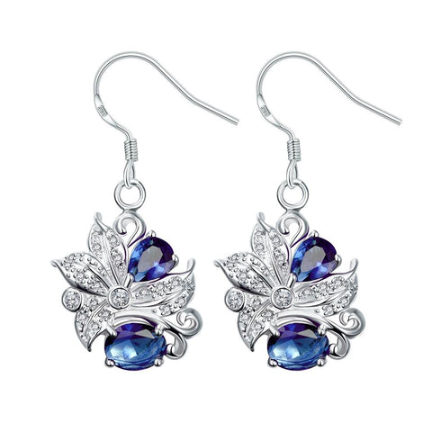 TBL Drop Earrings in 18K White Gold Plated with Swarovski Crystals