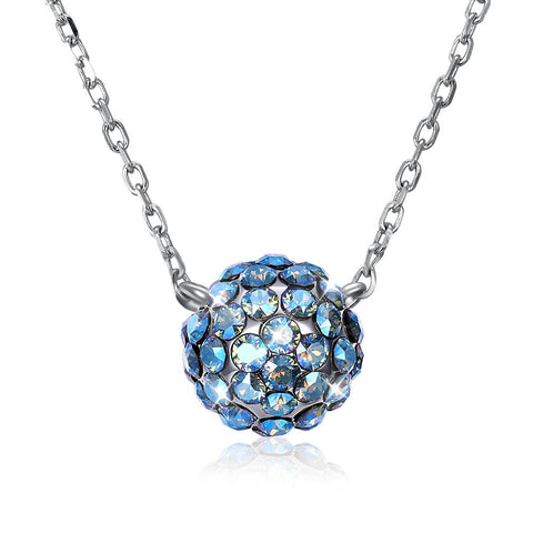 TBL Shamballa Ball Sterling Silver Necklace with Swarovski Crystals