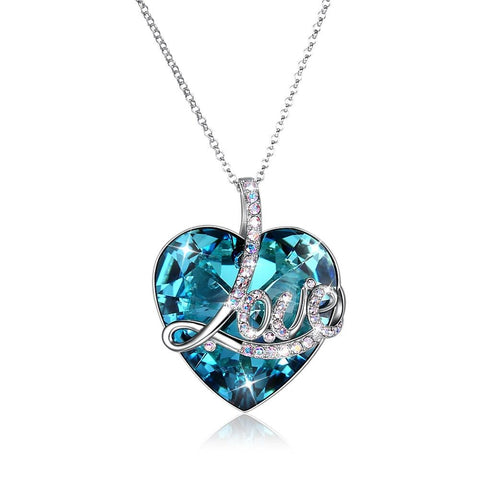 TBL Certified Blue Topaz 5.00 Ct Heart Cut Sterling Silver Necklace