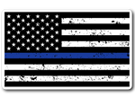 Thin Blue Line American Flag Distressed Sticker/Decal