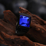 Thin Blue Line Blue Gem Emerald Cut Ring