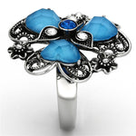 Thin Blue Line Sea Blue Flower Stainless Steel Ring