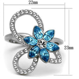 Thin Blue Line Blue Floral Design Ring