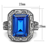 Thin Blue Line Stainless Steel Ring with Top Grade Crystal