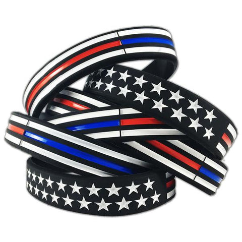 Thin Blue/Red Line American Flag Bracelet