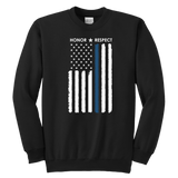 Thin Blue Line Flag Honor Respect - Kids Sweatshirt