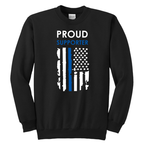 Proud Supporter - Thin Blue Line - Kids Sweatshirt