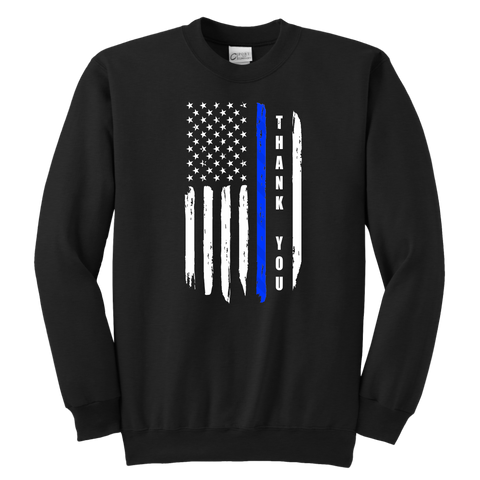 Thank You - Thin Blue Line Kids Sweatshirt
