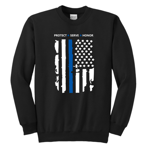 """Protect Serve Honor"" - Thin Blue Line Kids Sweatshirt"