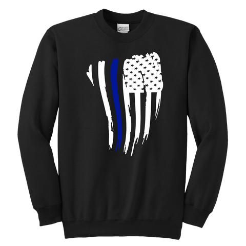 Thin Blue Line American Flag - Kids Sweatshirt
