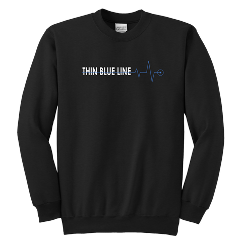 "Thin Blue Line ""Heartbeat"" - Kids Sweatshirt"