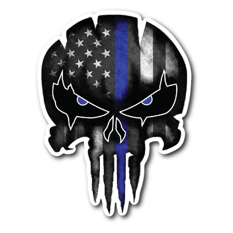Punisher Skull - Thin Blue Line Sticker/Decal