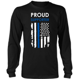 """Proud supporter"" - Thin Blue Line Flag Shirt + Hoodies"