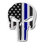 Skull Thin Blue Line Sticker/Decal