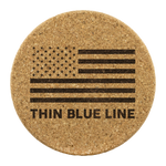 Thin Blue Line - Round Coasters - Set of 4