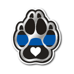 K9 Paw with Heart - Thin Blue Line Sticker/Decal
