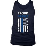 Proud family Thin Blue Line Flag Tank Tops