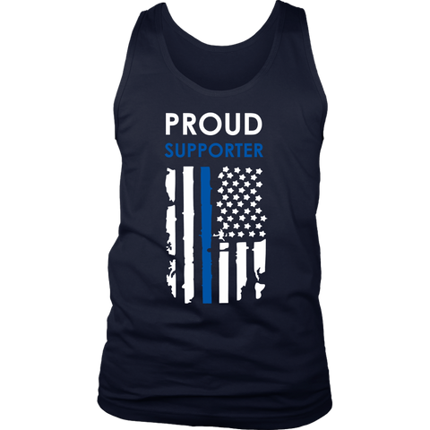 Proud supporter Thin Blue Line Flag Tank Tops