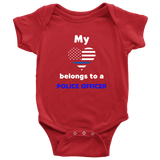 My Heart Belongs to a Police Officer - Infant Baby Onesie Bodysuit