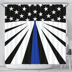 Thin Blue Line Shower Curtain - Type 4