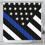 Thin Blue Line Shower Curtain - Type 2