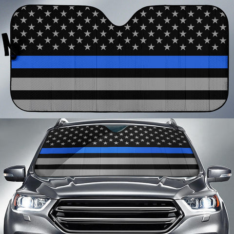 Thin Blue Line Flag - Auto Sun Shade - Type 2