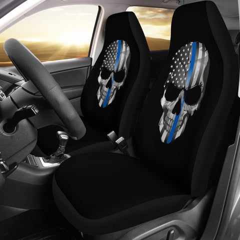 Thin Blue Line Skull - Car Seat Covers - Type 1 (Set of 2)