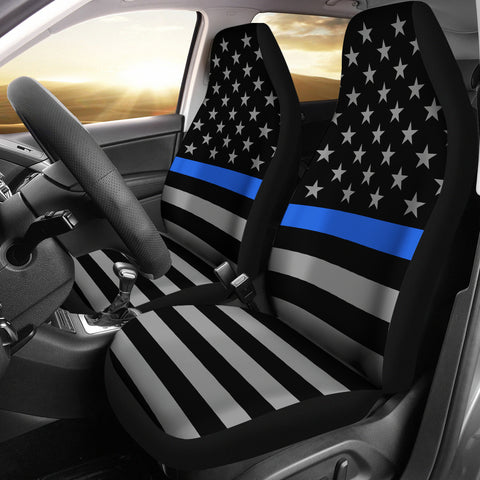 Thin Blue Line Flag - Car Seat Covers - Type 1