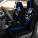 Thin Blue Line Skull - Car Seat Covers - Type 2 (Set of 2)