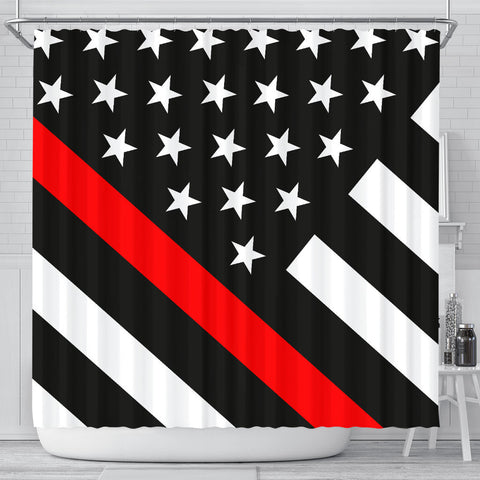 Thin Red Line Shower Curtain - Type 2