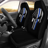 Thin Blue Line Punisher Skull - Car Seat Covers - Type 1 (Set of 2)
