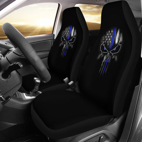 Thin Blue Line Punisher Skull - Car Seat Covers - Type 2 (Set of 2)
